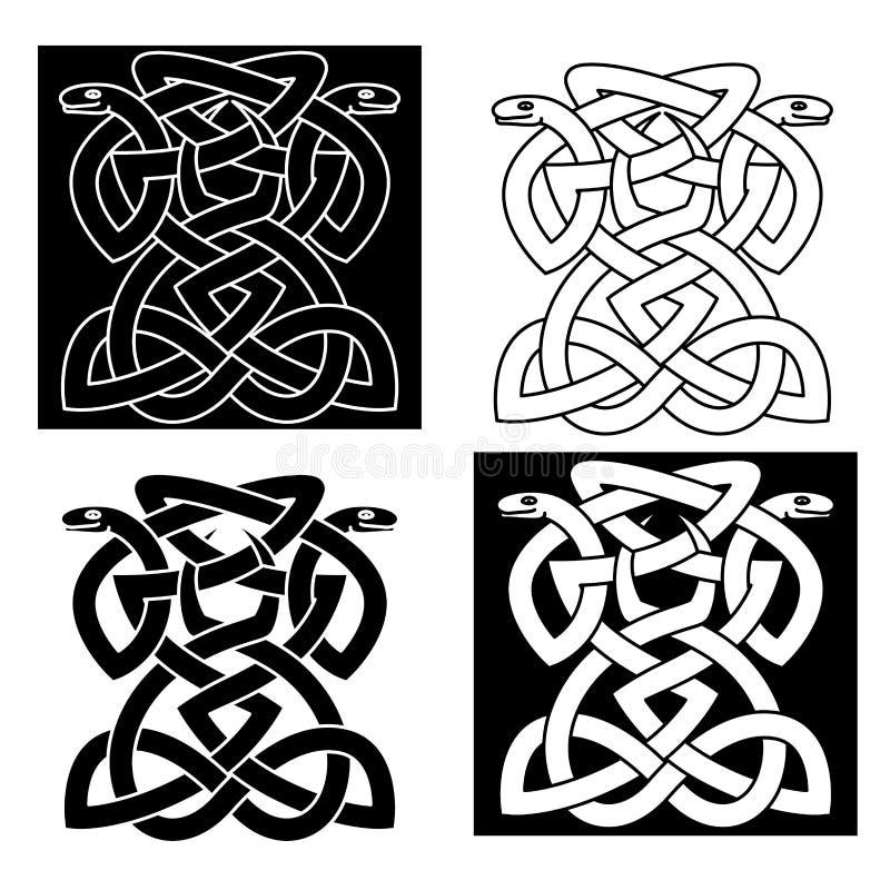Затейливая переплетаннсяая эмблема змеек иллюстрация вектора