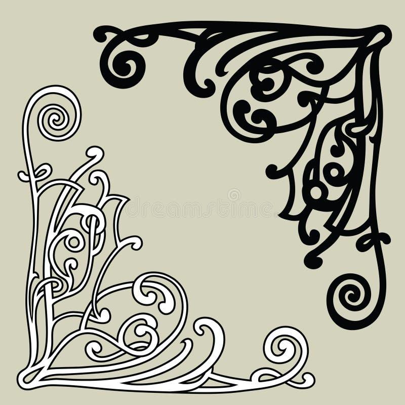 Затейливые угловые орнаменты бесплатная иллюстрация