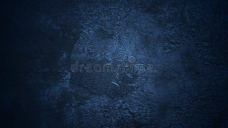 Затеняемая темносиняя предпосылка Старая треснутая поверхность Достигший возраста шелушиться покрасил кожаную текстуру стоковая фотография