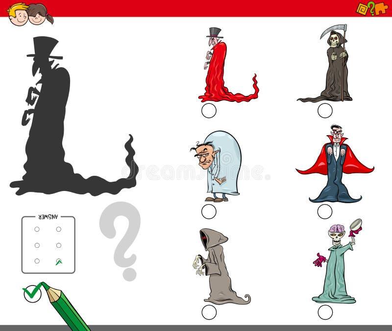 Затеняет игру с характерами хеллоуина шаржа бесплатная иллюстрация
