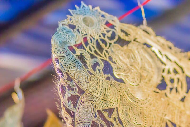 Затеняйте марионетку (Nang Talung), одно из общественных развлечений на юге  Таиланда который все еще очень популярный на фестива стоковая фотография