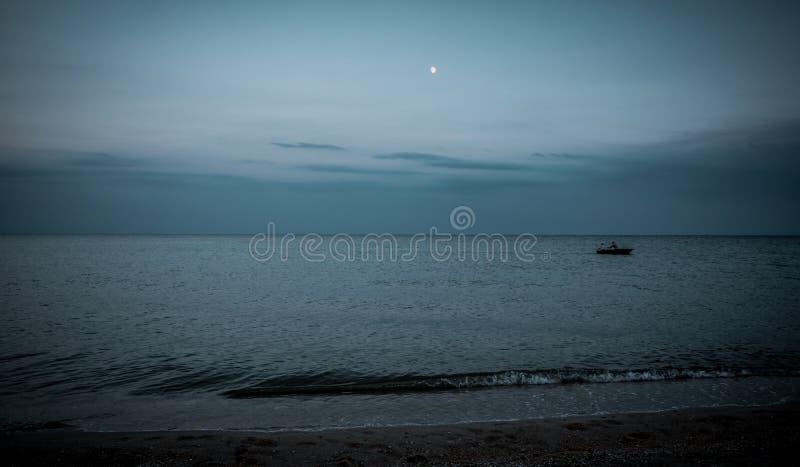 Затишье над Тихим океаном Seascape ночи стоковая фотография rf