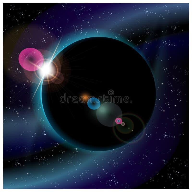 Затмение планеты иллюстрация вектора