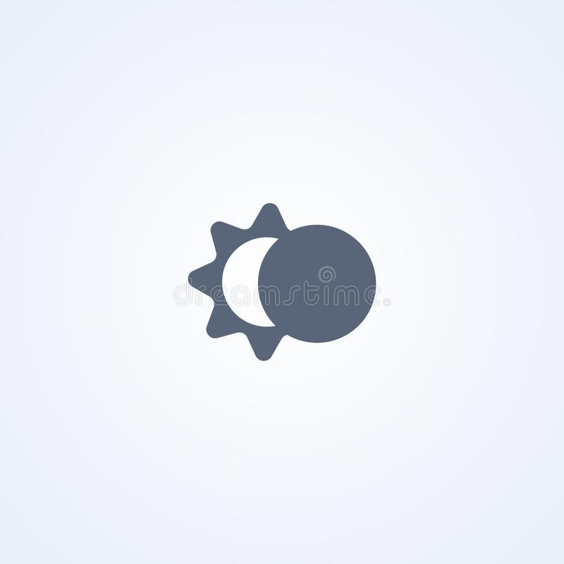 Затмение, солнце и луна, значок вектора самый лучший плоский бесплатная иллюстрация