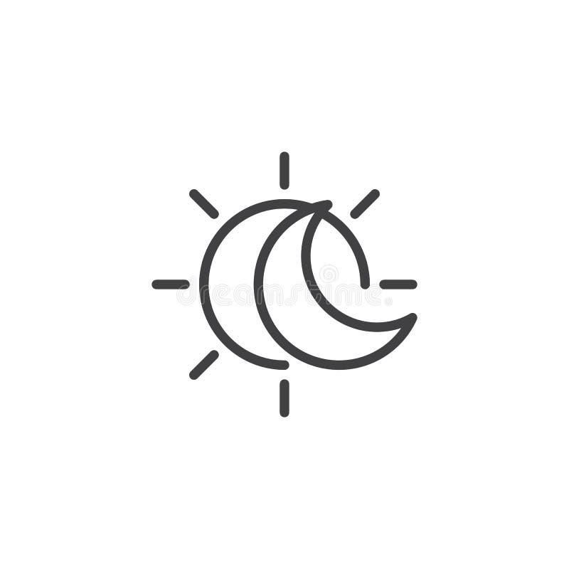 Затмение с солнцем и полумесяц лунатируют линия значок иллюстрация вектора