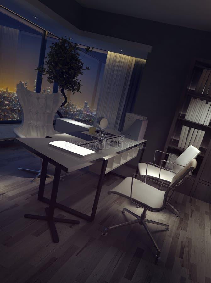 Затмленный пустой интерьер домашнего офиса иллюстрация вектора