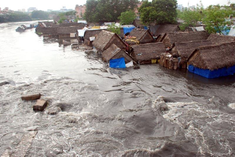 затопленные дома стоковое изображение rf