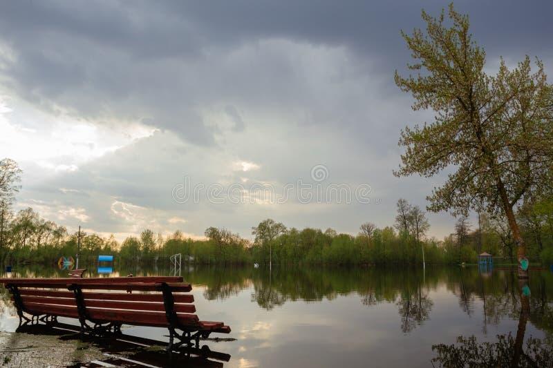 Затопленный весной парк города поймы стоковая фотография rf