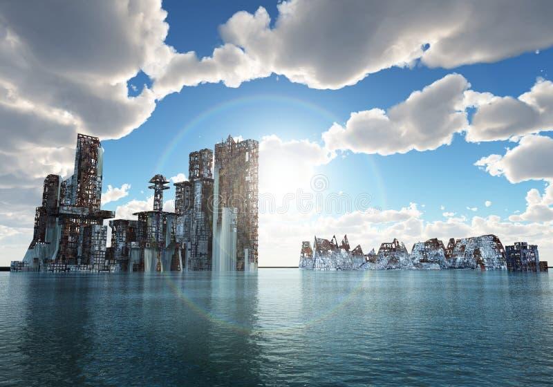 затопленный город иллюстрация вектора
