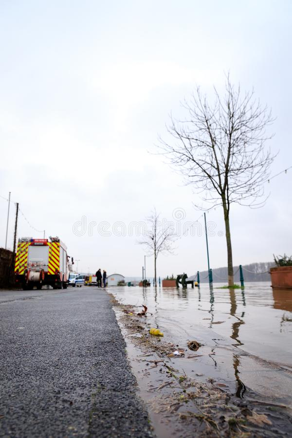 Затоплять на Рейне в Nierstein стоковое фото rf