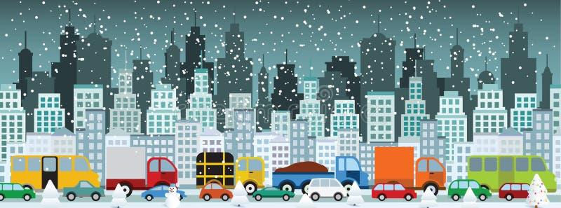 Затор движения в городе (зима) иллюстрация штока