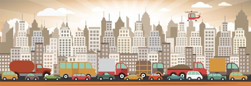 Затор движения в городе иллюстрация вектора