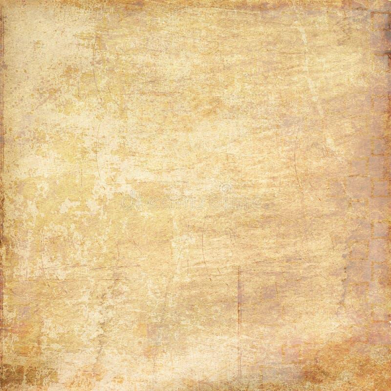Затрапезная достигшая возраста поцарапанная предпосылка текстурированная пергаментом иллюстрация штока