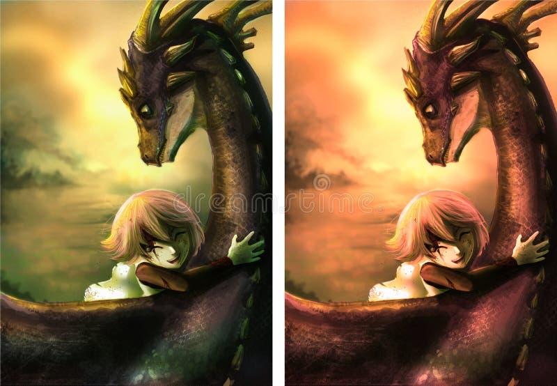 Затрапезная девушка обнимает ее дракона с счастьем иллюстрация вектора