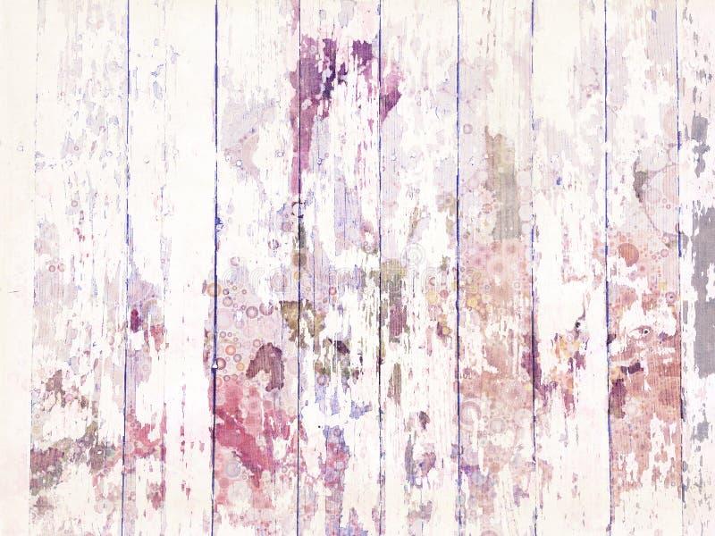 Затрапезная Grungy огорченная деревянная текстура настила с белой краской стоковое фото