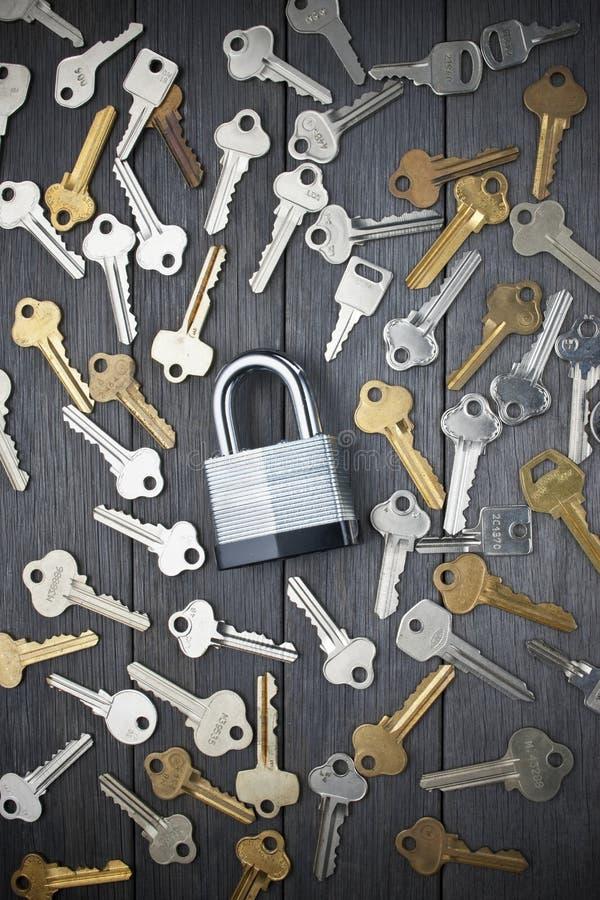 Зафиксируйте безопасность ключей Padlock стоковая фотография rf