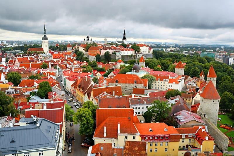 Захватывающий вид с воздуха средневековых башен и старого городка Таллина, Эстонии стоковые изображения rf