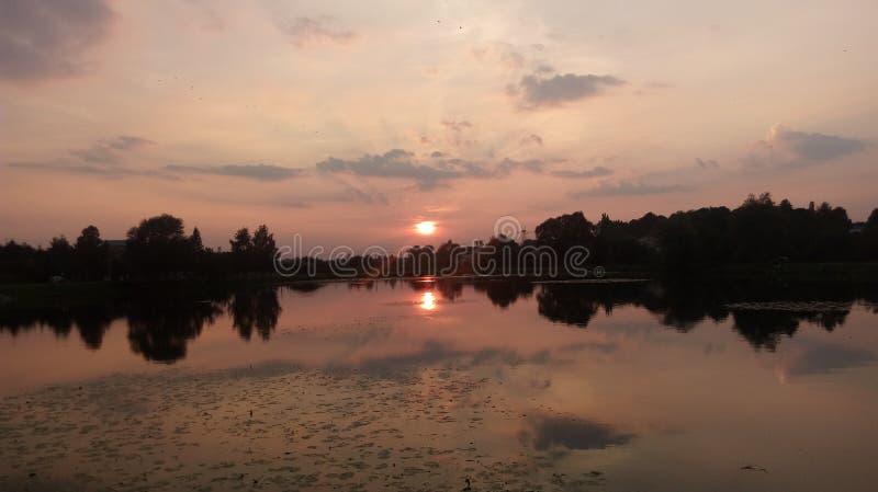 Заходящее солнце на озере стоковые фотографии rf