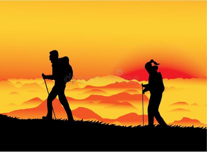 заход солнца альпинистов иллюстрация штока