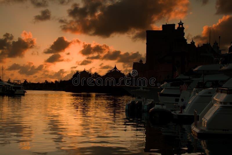 заход солнца Багам стоковое изображение