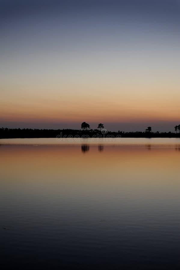 Заход солнца болотистых низменностей стоковое изображение