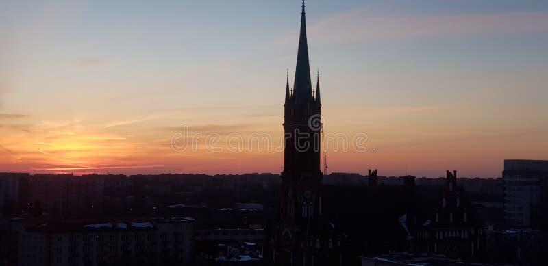 Заход солнца Варшавы стоковое фото rf