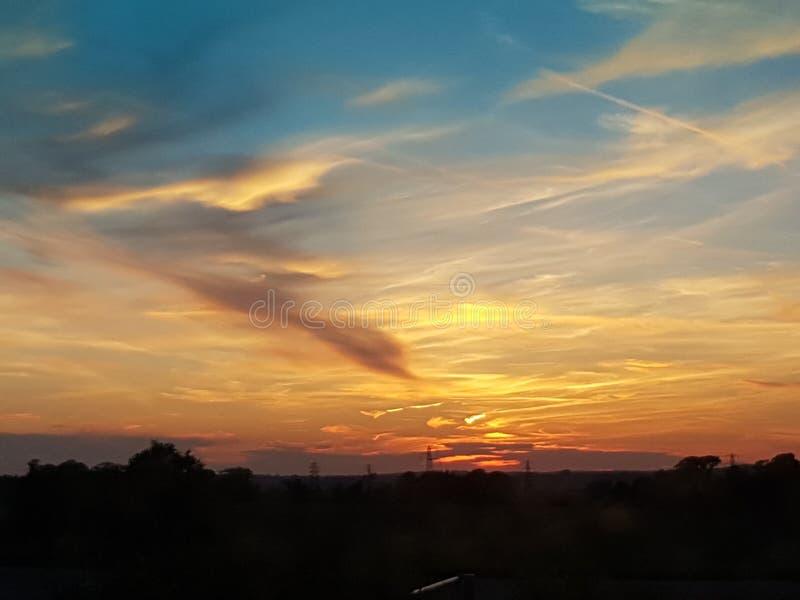 Заход солнца Великобритания Кента стоковое фото