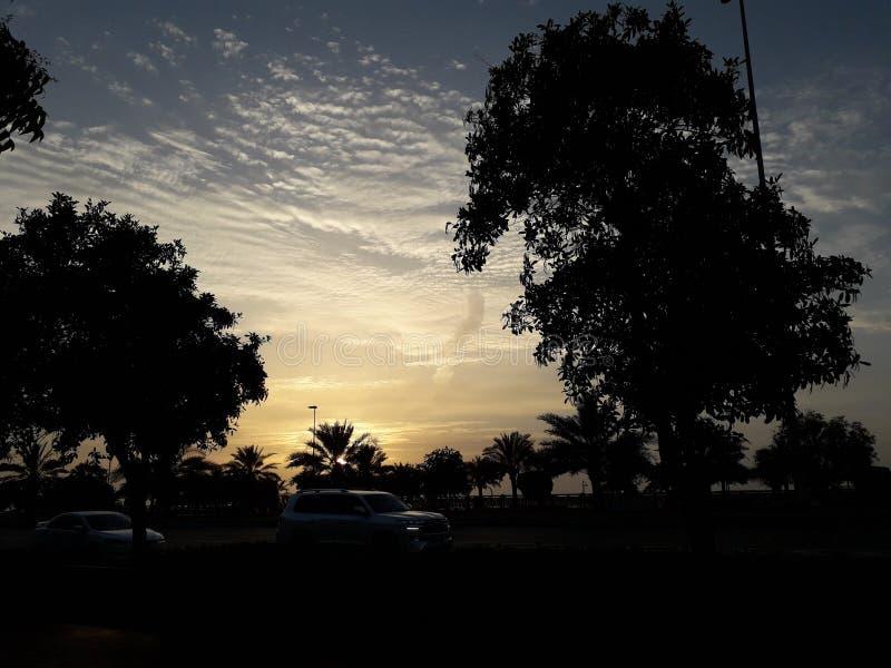Заход солнца в Абу-Даби стоковая фотография rf