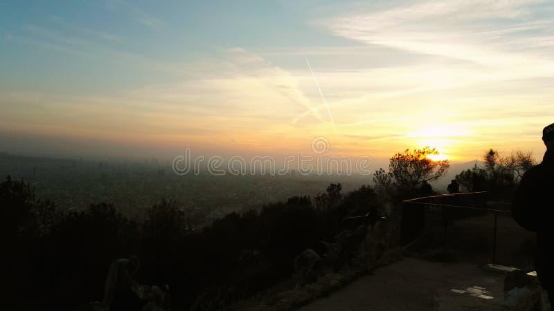 Заход солнца в Барселона стоковое изображение