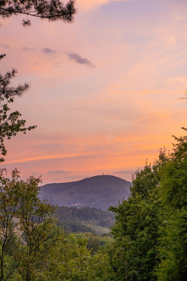 Заход солнца в Богемии стоковая фотография rf