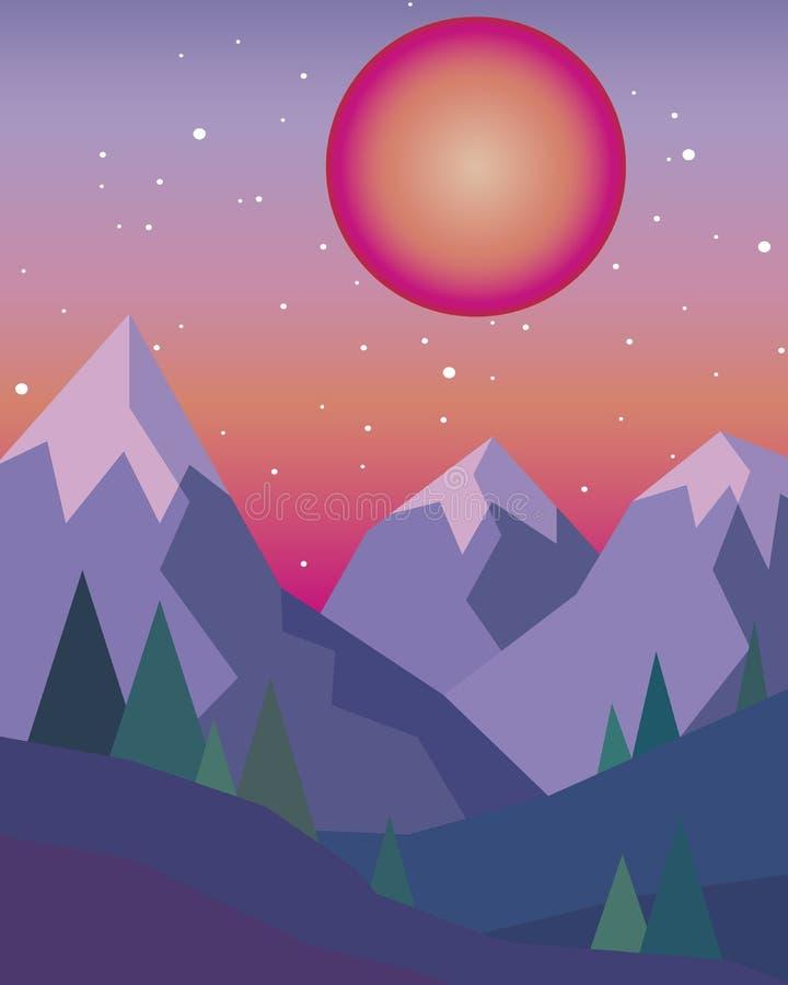 Заход солнца в горах с красным солнцем на небе в геометрическом стиле иллюстрация вектора