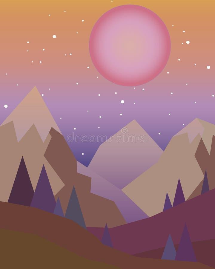 Заход солнца в горах с красным солнцем на небе в геометрическом стиле бесплатная иллюстрация