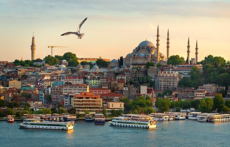 Заход солнца в городе Стамбула стоковая фотография rf