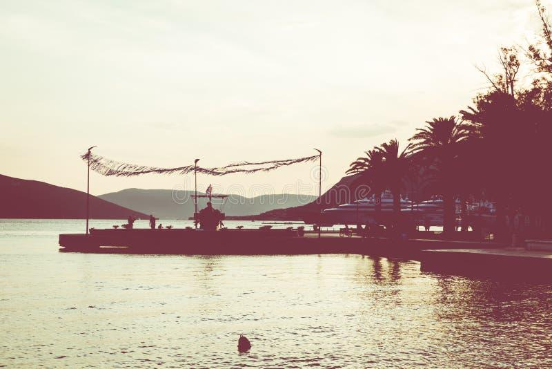 Заход солнца в Марине Порту Черногории, Tivat стоковое фото rf