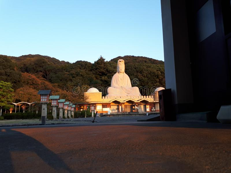 Заход солнца в мемориале Kannon, Киото стоковая фотография rf