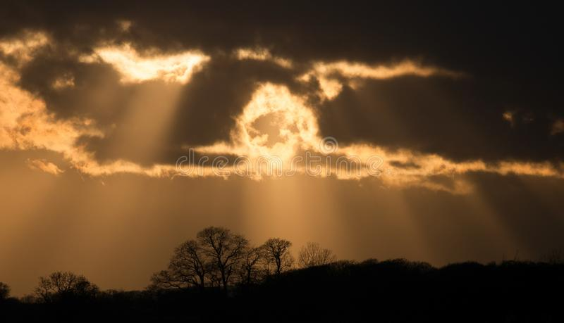 Заход солнца в сельской местности Чешира стоковое изображение rf