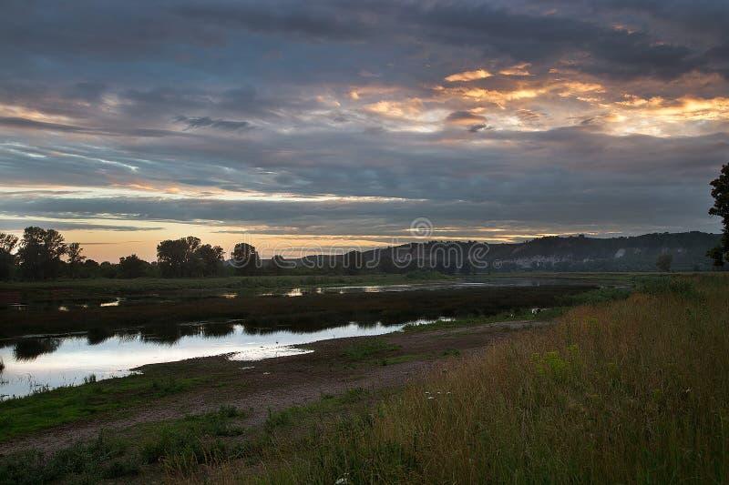 Заход солнца в центральной России стоковое изображение rf