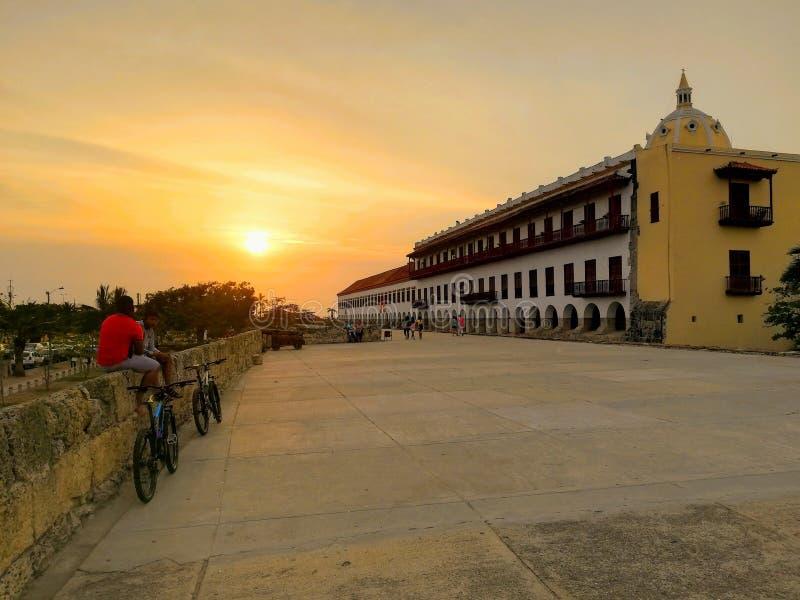 Заход солнца в Cartagena стоковые фотографии rf