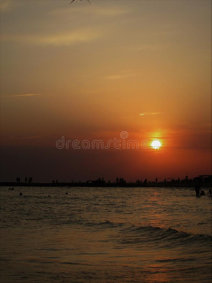 Заход солнца в Ilichevsky стоковая фотография rf