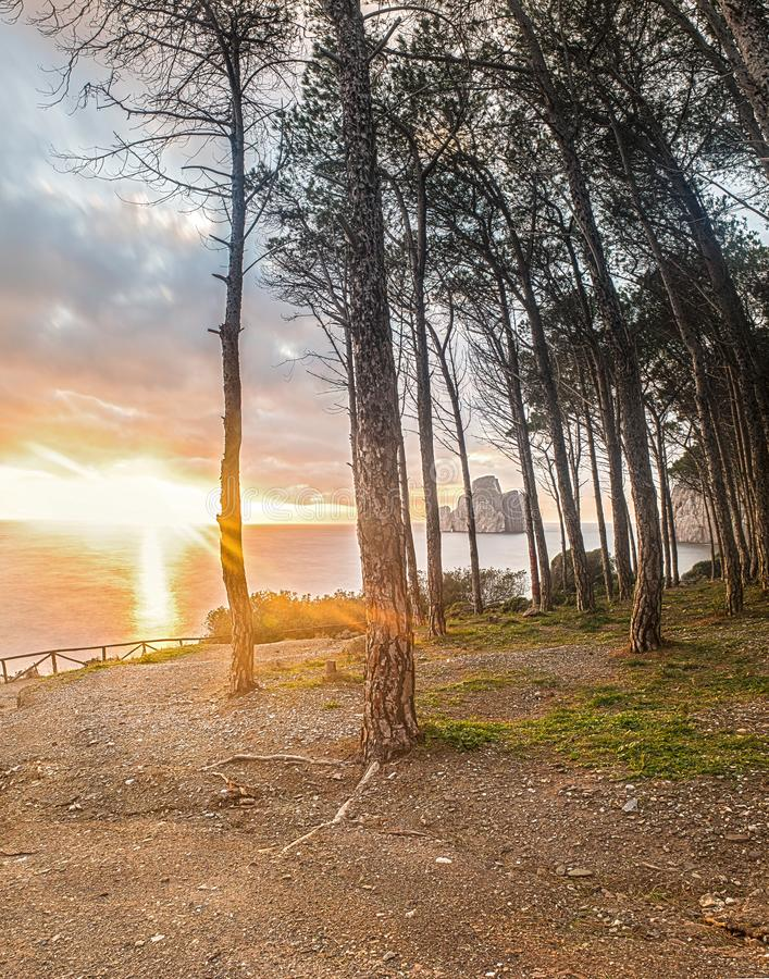 Заход солнца в Masua стоковые фотографии rf