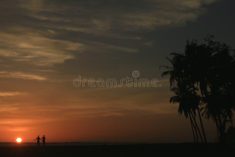 Заход солнца в Meulaboh, Индонезии стоковое фото rf