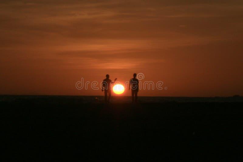 Заход солнца в Meulaboh, Индонезии стоковое изображение rf
