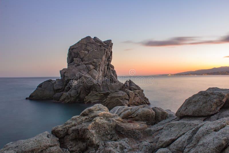 Заход солнца в Pietragrande, Калабрии, Италии стоковое изображение rf