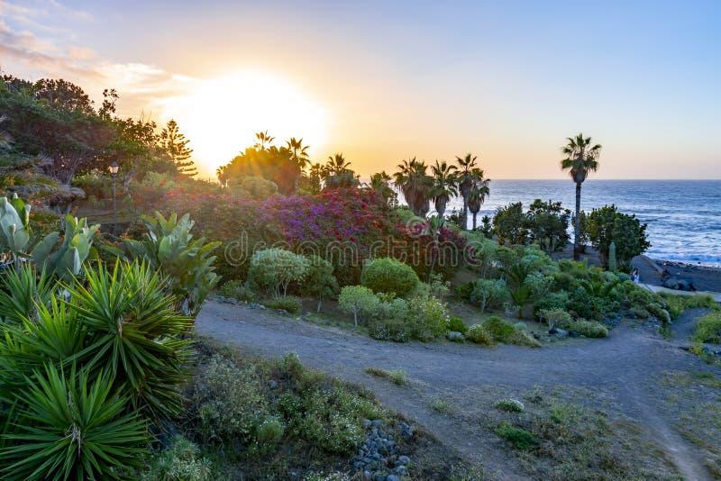 Заход солнца в Puerto de Ла Cruz, Тенерифе, Канарских островах, Испании стоковые изображения rf