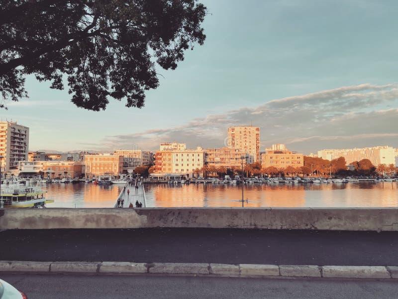 Заход солнца в Zadar стоковое фото