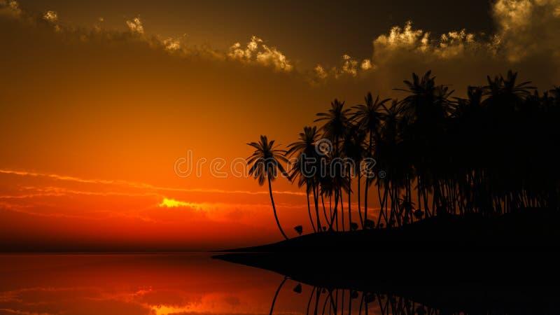 Заход солнца Гавайи иллюстрация штока
