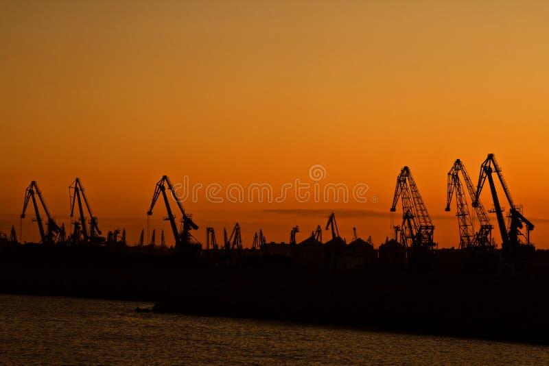 заход солнца гавани стоковые фотографии rf