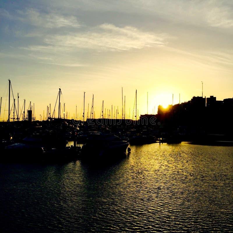 Заход солнца гавани Ramsgate стоковые фото