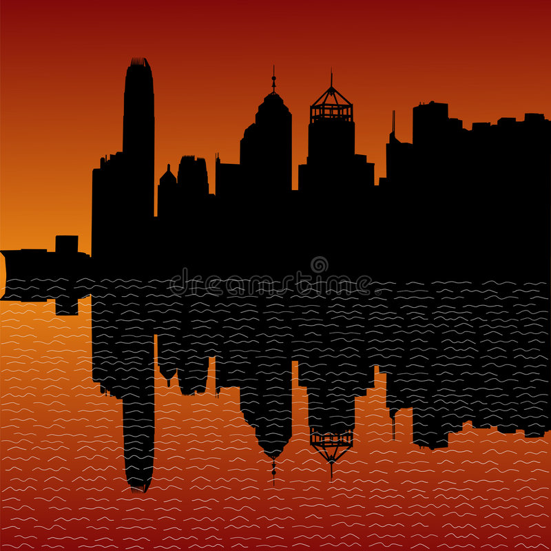 заход солнца горизонта Hong Kong бесплатная иллюстрация
