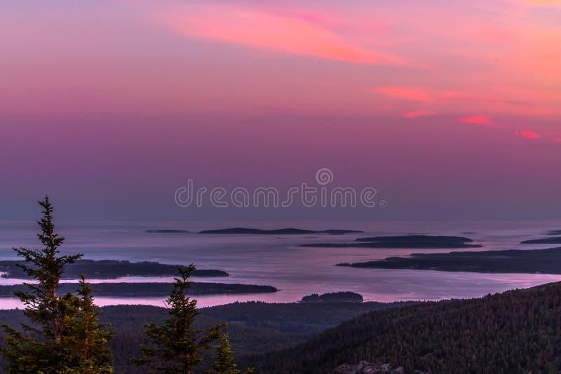Заход солнца горы Кадиллака стоковая фотография rf